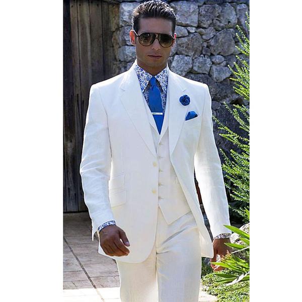 Горячие Продажи Белые Мужчины Костюмы Зубчатый Отворот Свадебные Костюмы Для Мужчин С Курткой Жилет И Брюки Жених Смокинги Две Кнопки Блейзеры