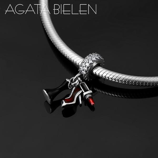 925 Sterling Silber hochhackige Schuhe Lippenstift und Rock feine Anhänger Perlen Fit Original Pandora Charm Armband Schmuck machen