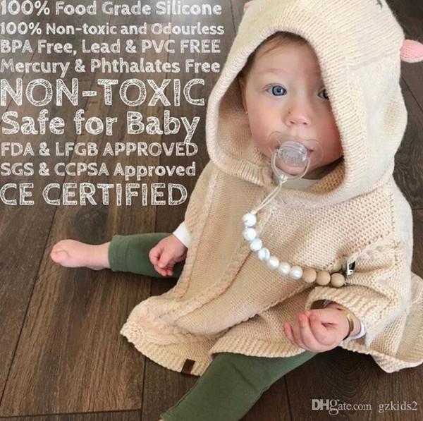 INS bébé Bois Perle Pacifier Clips chaîne avec couverture du commerce extérieur Vente chaude Fabriqué à la main du nourrisson naturel bébé jouet à mâcher