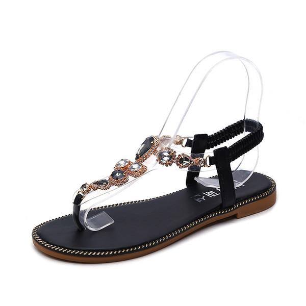 Femme Sandales Chaussures 2019 Summer Strass Bohemia Sandales Plates Dames Cristal Plat Romain Plage Tongs Q-225