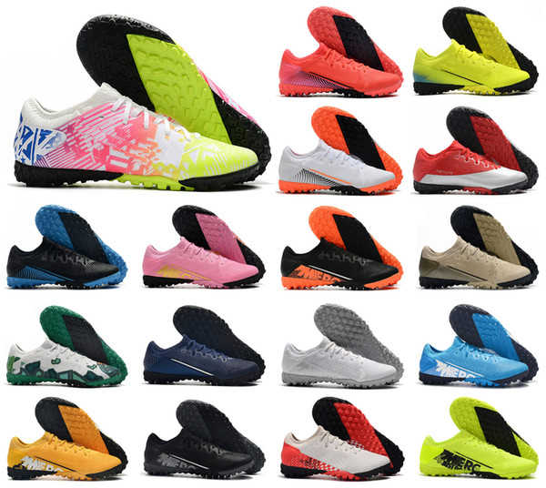 top popular Mens Mercurial Vapors XIII 13 Pro TF Turf Indoor CR7 Cristiano Ronaldo Neymar Jr. NJR Soccer Football Shoes Cleats Boots Size 39-45 2020