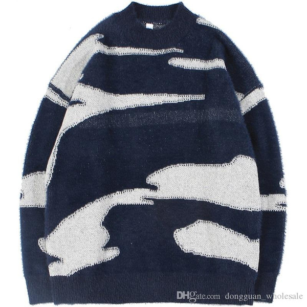 Retro Vintage Sweater 2019 Men Hip Hop Sweater Pullover Streetwear Harajuku Loose Knitted Sweater Autumn Casual Cotton Clothing