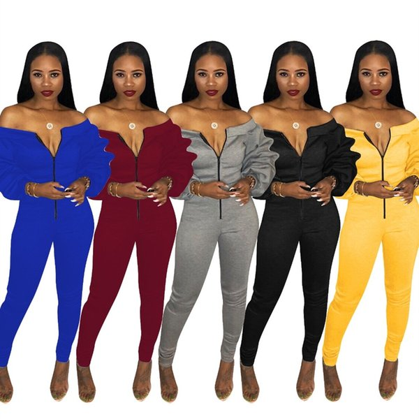 Adogirl Plus Size Women Casual Jumpsuit Zipper Front Slash Neck Off Shoulder Long Puff Sleeve Thick Romper Fashion Overalls #400899