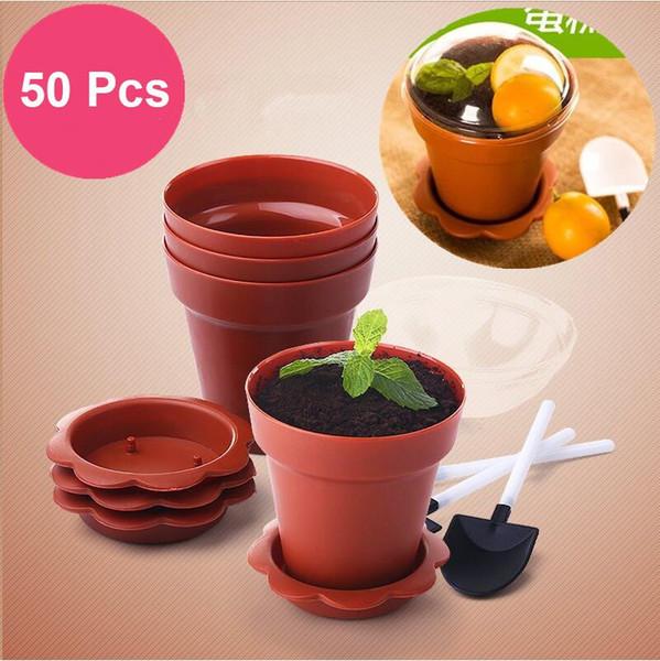 top popular 50 sets Creative Flower Pot Cake Cups Shovel Lid Tiramisu Decor Ice Cream Cup for Wedding Kids Birthday Party Supplies 2021