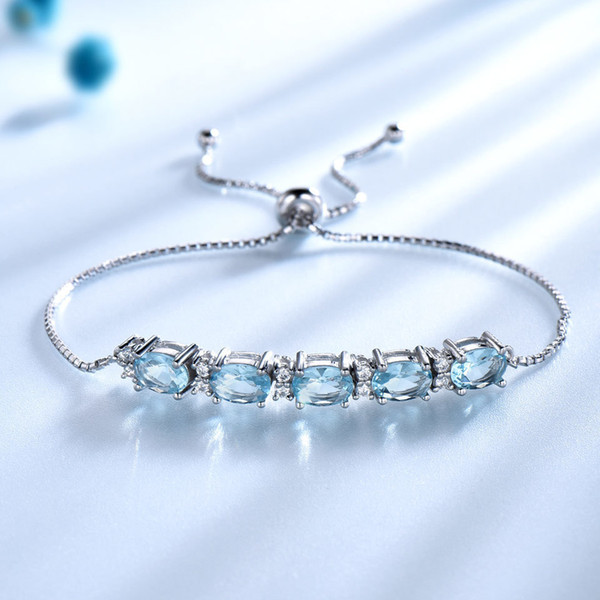 Umcho 5ct Natural Sky Blue Topaz Real 925 Sterling Silver Jewelry Aquamarine Charm Bracelets & Bangles For Women Fine Jewelry Y19051602