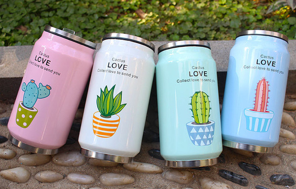 Hot 350ml cactus cans mug stainless steel with straw cartoon printing kettle student portable cup travel sports car bottle free choose W1903