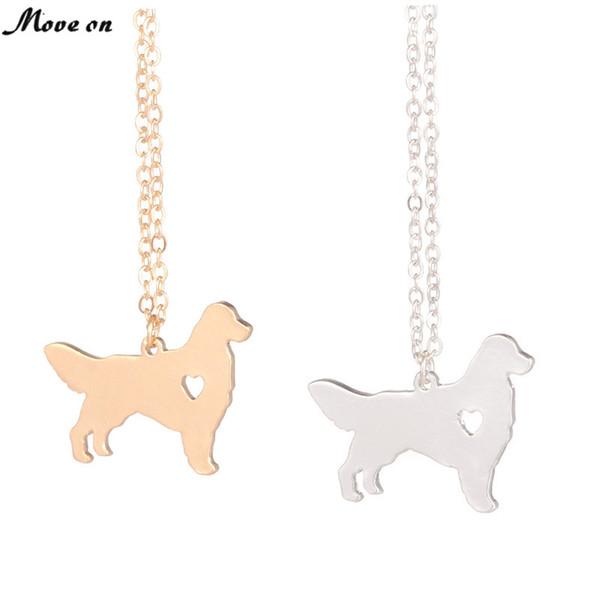 Ouro prata Golden Retriever Colar Cão Pingente de Raça de Cão de Prata Charme Animais de Estimação Novo Filhote de cachorro Adote Os amantes Do Cão