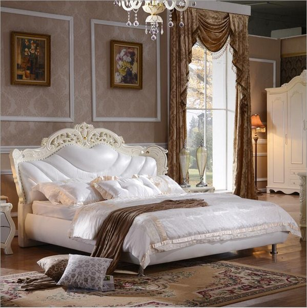 hot selling modern european solid wood bed Fashion Carved 1.8 m bed french bedroom furniture o10239