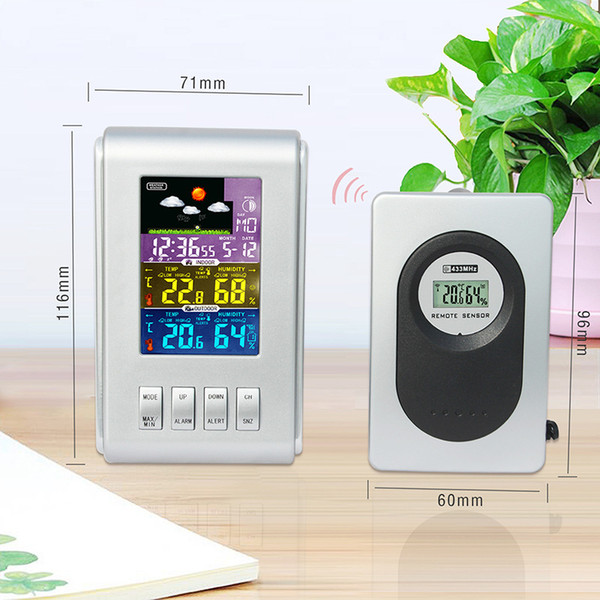 Wireless Weather Station Forecast Thermometer Digital Calendar Electronic Clock Color Screen Remote Sensor Indoor & Outdoor
