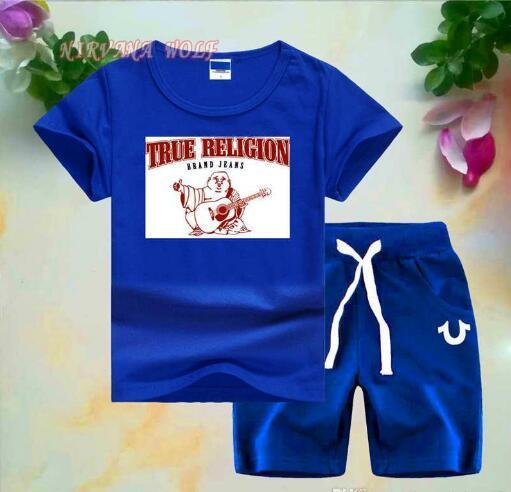 Guitar Buddha Little Kids Sets 2-7T Childrens O-neck T-shirt Short Pants 2Pcs/sets Boys Girls Pure Cotton Printing Logo Children Summer Sets