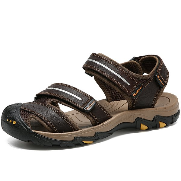 2018 Men's Causal Cow Leather Sandals Men Shoes Black Brown Beach Cork Slippers Sandal Man zapatos hombre 39-44