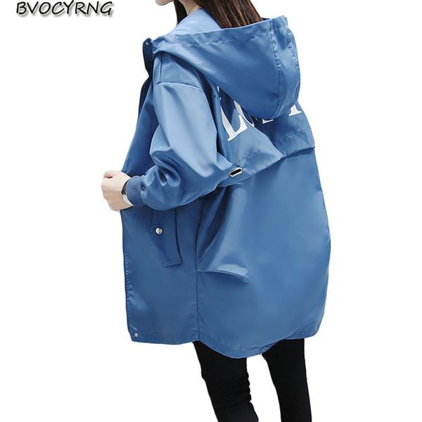 Moda kapüşonlu ceket kadın 2019 bahar koleji rüzgar uzun rüzgarlık kadınlar büyük boy ceket sonbahar gevşek rahat giyim tops