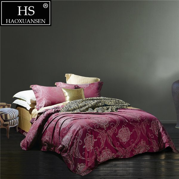 Baroque Paisley Design Jacquard 400TC Bedding Red White Champagne Duvet Cover Flat Sheet Pillow Case Egyptian Cotton King Size