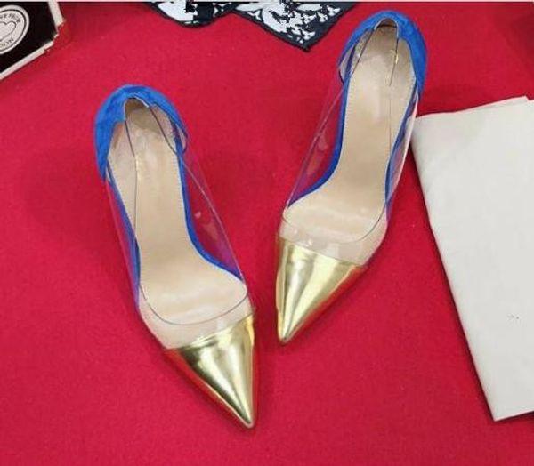 Wholesale-2019 Impera Rihanna's Rhinestone Abnormal jeweled Heels Ankle-Wrap Lock Jelly Shoes Woman Gladiator Spike High Heels Sandals 41