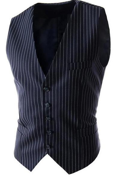 Good Quality Mens Dress Vest British Style Stripe Slim Fit Chaleco Hombre Men Vest Single Breasted Casual Gilet Waistcoat Men