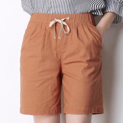 женские шорты льняные шорты твердые эластичный пояс Бермуды случайные летние короткие брюки для женщин новый карман Pantalones Cortos Mujer