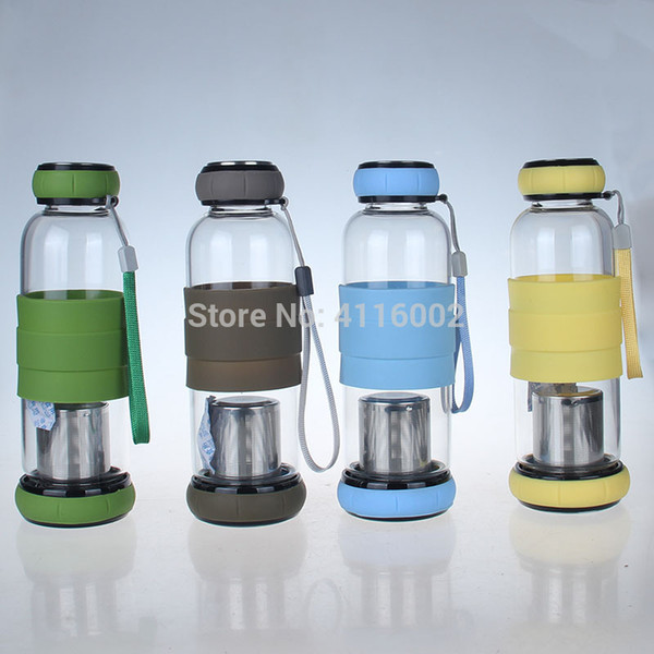 hot 20pcs Pumpkin Cover Glass Water Bottle With Tea Infuser Two-way Communication Anti Scald Outdoor Bottle