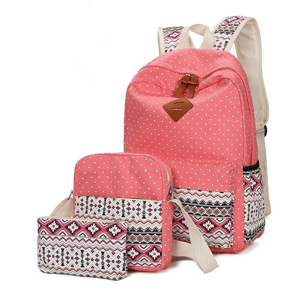 Three-piece Suit Canvas Outdoor Sports Women Backpack for Girls School Bags Anti Theft Backpack Mochila Laptop Backpack 3 Sets Shoulder bags