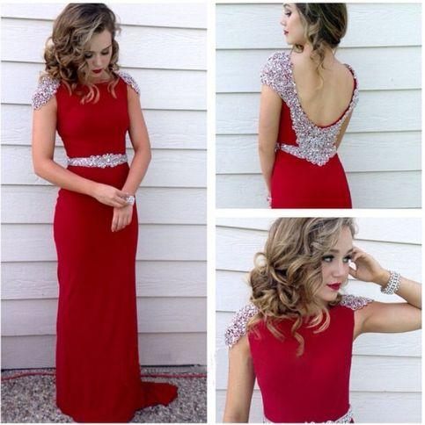 2019 Beaded Crystal Prom Dresses Long Red Color Cap Sleeve Sheath Dresses Evening Wear Chiffon Long Party Formal Dress paolo sebastian