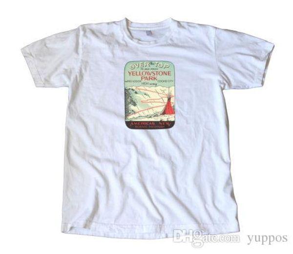 Прохладный смешные футболки высокого качества тис Йеллоустоун парк путешествия термоаппликации футболка письмо Майка мужчины повседневная Белый футболка пользовательские