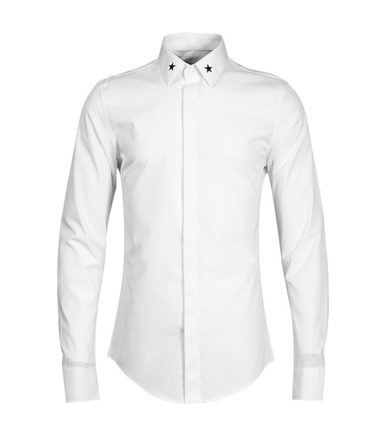 Fashion-New 2019 Spring Autumn Cotton Dress Shirts Five-star Embroidery Mens Casual Shirt Long Sleeve Mens Camisa Chemise Plus Size S-3XL