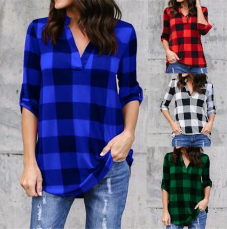 babyonline / Plus Size 5XL Fique Neck manga comprida grade Mulheres Blusa camisas xadrez Mulheres Vintage Tops e Blusas soltas Malha Blusa Feminina FS5670