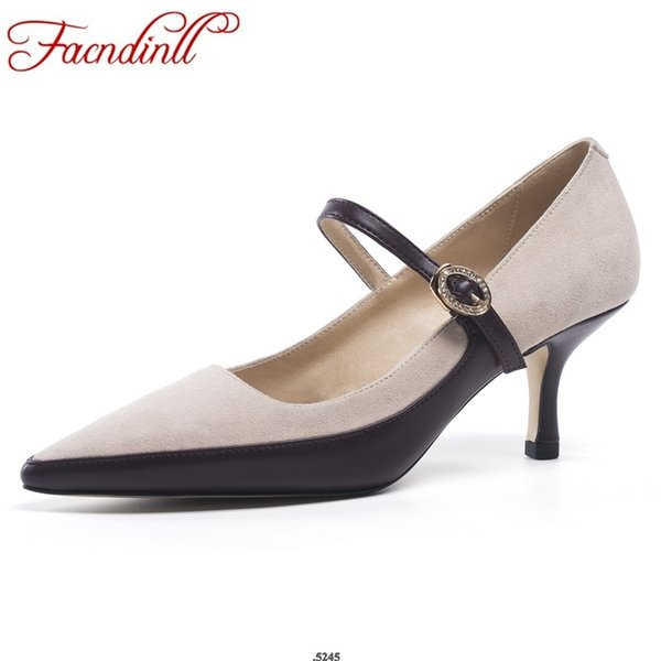 wholesale new 2019 spring fashion genuine leather women pumps shoes sexy thin high heels pointed toe woman dress party shoes