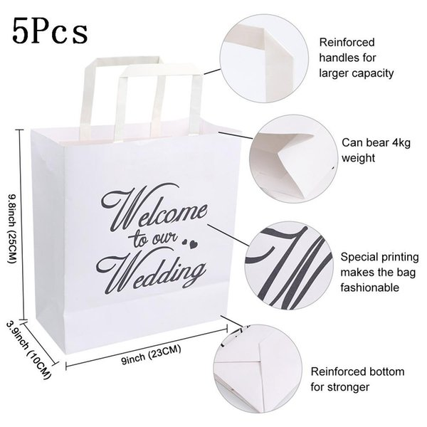 5Pcs White Gift Bag
