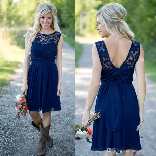 top popular Country Style 2019 Navy Blue Chiffon Lace Short Bridesmaid Dresses For Weddings Cheap Jewel Backless Knee Length Beach Dress Custom Made 2019