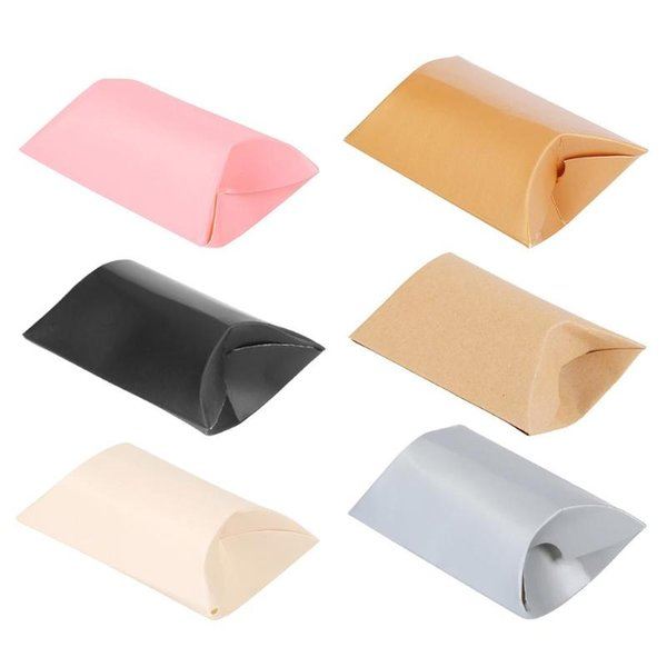 10pcs Plain Color Pillow Shape Christmas Candy Gift Boxes Guests Packaging Boxes Gift Bag Christmas Party Kids
