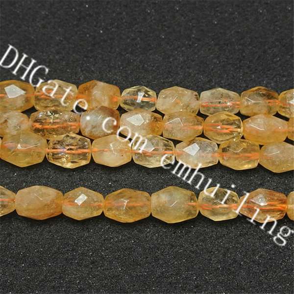 1 Strand Natural Chunky Tumbled Citrine Quartz Gemstone Nugget Beads Fine Smooth Freeform Faceted Yellow Crystal Loose Beads,11*15mm, Approx