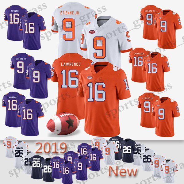 9 Travis Etienne Jr. NCAA Clemson Tigers 16 Trevor Lawrence Penn State Nittany Lions 26 Saquon Barkley American Wear HOT Top quality