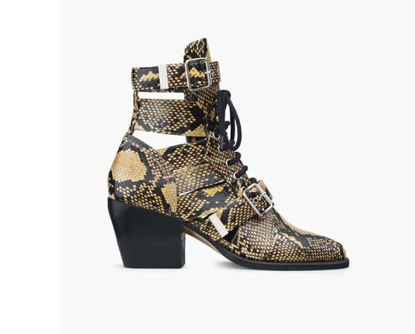 2019 autumn and winter show new thick high-heeled pointed hollow belt buckle lace short boots large size leather female short