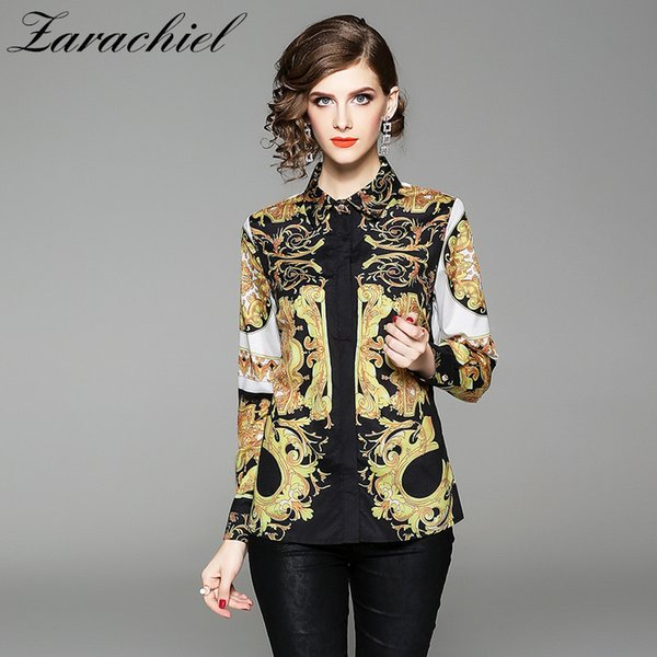 Neue 2019 Herbst Womens Tops und Blusen Langarm Barock Muster Print Chiffon Bluse Ol Arbeitskleidung Blusas Damen Office Shirt Y190518