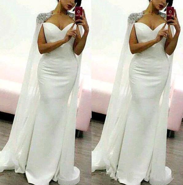 Arabo Bianco Cappella Satin Mermaid Abiti Da Sera Lunghi 2019 Splendida Applique In Rilievo Formale Abiti Del Partito Prom Dresses Custom Made A Buon Mercato