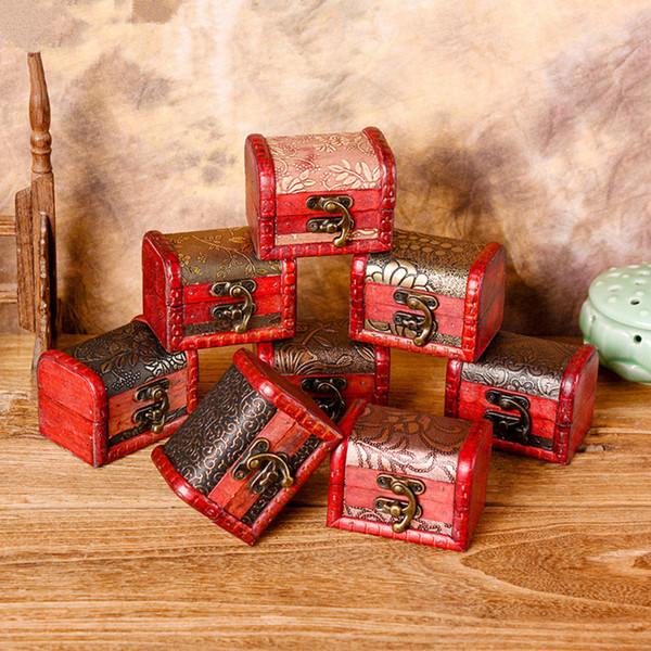 Vintage Jewelry Box Organizer Storage Case Mini Wood Flower Pattern Metal Container Handmade Wooden Small Boxes RRA1242