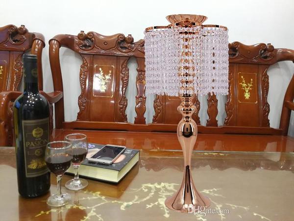 Altın renk Kristal Düğün Dekorasyon Centerpieces Düğün Çiçek Top Tutucu Masa Merkezinde Vazo Kristal Şamdan Standı