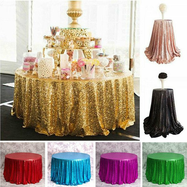 Round Rose Gold Sequin Table Cloth Shimmer Sparkly Overlays Tablecloths for Wedding Party