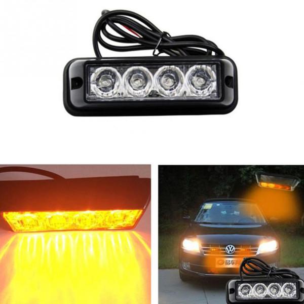 4 LED de alta calidad flash de coches Beacon carro LED Luz de emergencia estroboscópica Bar Peligro amarillo de cuidado alumbramientos