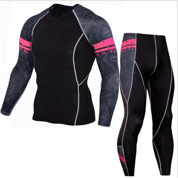 Underwear Men Brand Tracksuit Rash Gard Kit Quick Drying Men Gym Clothes Man Compression Thermal Underwear Set Long Johns S-4XL