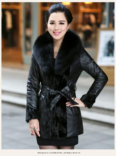 High Quality Real Leather Jacket Patchwork Genuine Mink Coats Women Winter Sheepskin Coat Real Fox Fur Collar Plus Size 6XL Z206