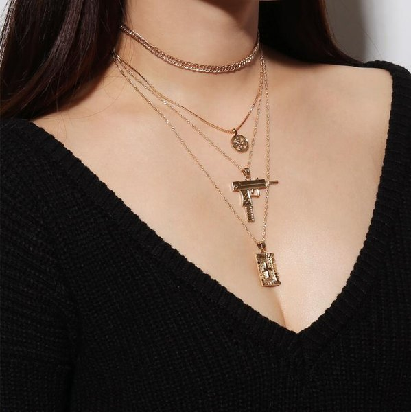 Fashion Long Chain Gun Cross Pendant Necklace For Women Gold Layered Necklace Christ Choker Multi Necklace Vintage Retro Jewelry