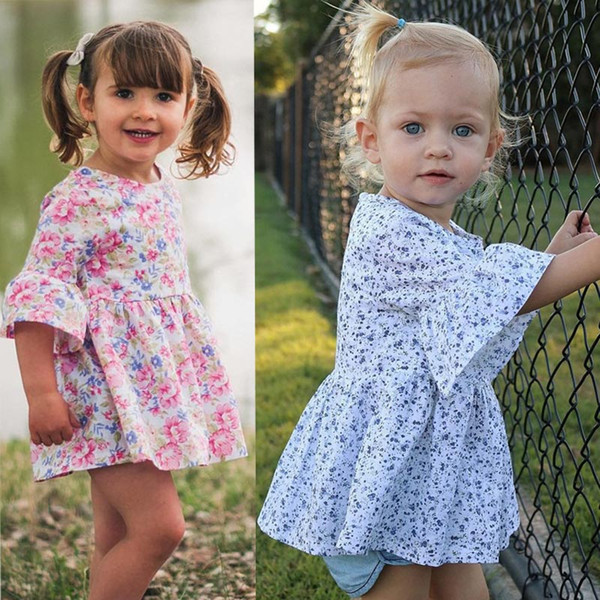 Toddler Bebek kız elbise yaz 2019 Çiçek Baskı Ruffles Yarım Kollu Elbiseler Kıyafetler Giysileri vestido infantil bebek elbise C1