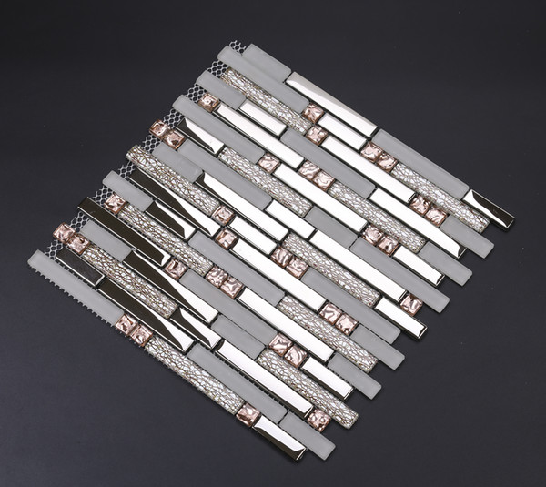 best selling Electroplated silver glass mosaic kitchen backsplash wall tile EGMT006 frosted rose gold pink glass mosaic bathroom tiles