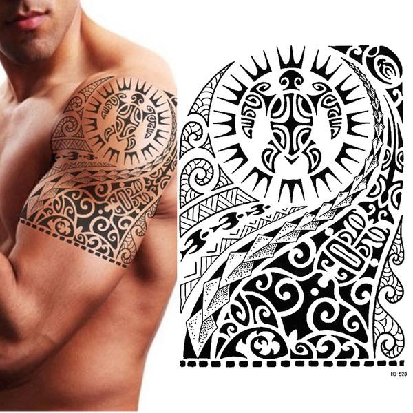 Tatuagens Femininas Tatuagem Temporária Tribal Tartaruga Maori Polinésio Preto Homens Mulheres D19011202 Tatuagens Douradas De Yizhan06 611