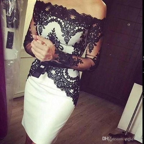 New Short Cocktail Party Dresses with Long Sleeve for Women Ladys Wear Special Occasion Satin Off Shoulder Knee Length Sheath Prom Gowns