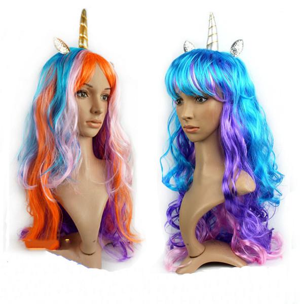 Unicornio peluca celebración de vacaciones de colores peluca peluca para niños y adultos