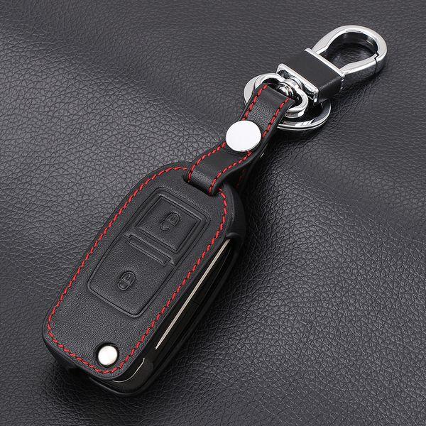 Genuine Leather 2 Buttons Car Flip Key Cases for Volkswagen VW Amarok Polo Golf Mk4 Mk5 Bora Jetta Seat Altea Alhambra Key Cover