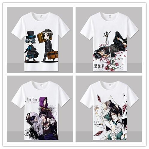 Anime Black Butler T Shirt men Short Sleeve Cartoon Sebastian Michaelis T-Shirt Cosplay Costume Clothing Free Shipping