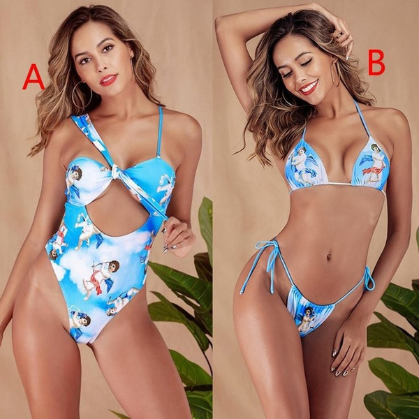 One-piece swimsuit sexy hollow small love one-piece bikini cupid ladies swimsuit explosion models two styles DHL free gifg 200pcs